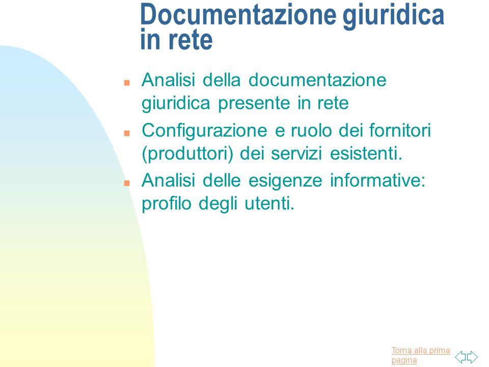 Torna alla prima pagina Documentazione giuridica in rete n Analisi della documentazione giuridica presente in rete n Configurazione e ruolo dei fornit