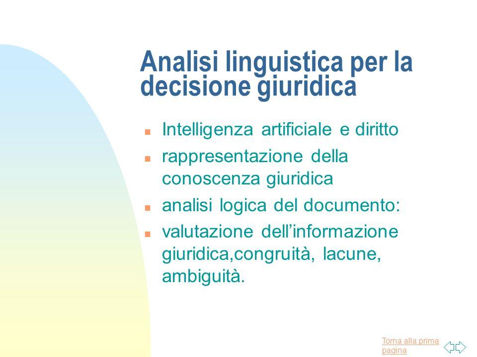 Torna alla prima pagina Analisi linguistica per la documentazione giuridica n il documento giuridico in una base di dati n Concetto di modellizzazione, indicizzazione, marcatura.