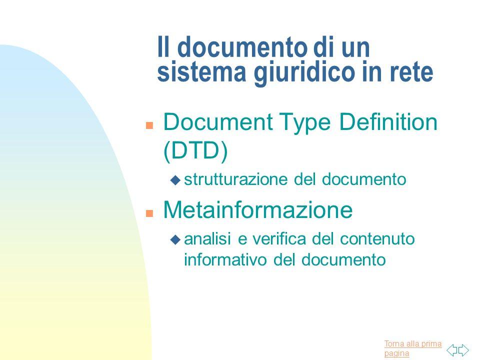 Torna alla prima pagina Il documento di un sistema giuridico in rete n Document Type Definition (DTD) u strutturazione del documento n Metainformazion