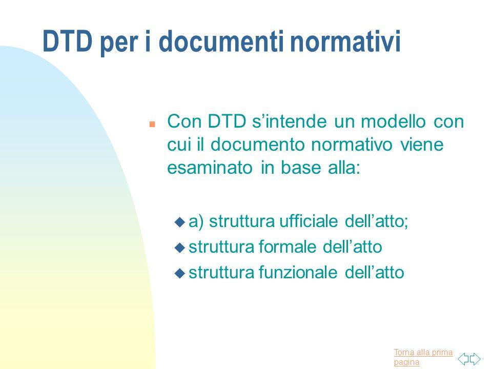Torna alla prima pagina DTD per i documenti normativi n Con DTD sintende un modello con cui il documento normativo viene esaminato in base alla: u a)
