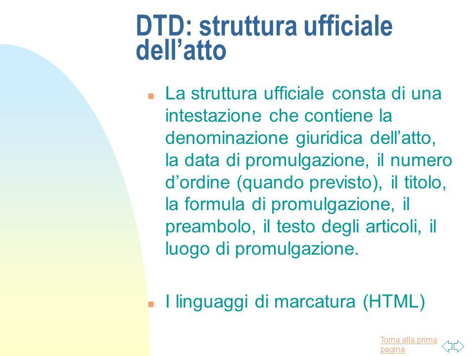 Torna alla prima pagina DTD: struttura ufficiale dellatto n La struttura ufficiale consta di una intestazione che contiene la denominazione giuridica