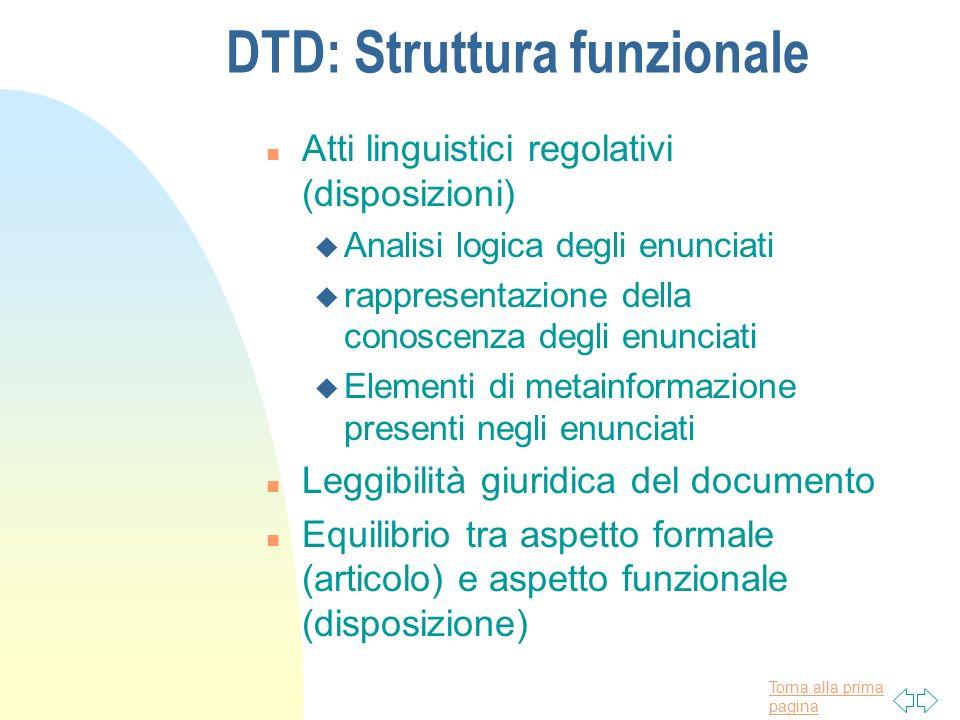 Torna alla prima pagina DTD: Struttura funzionale n Atti linguistici regolativi (disposizioni) u Analisi logica degli enunciati u rappresentazione del