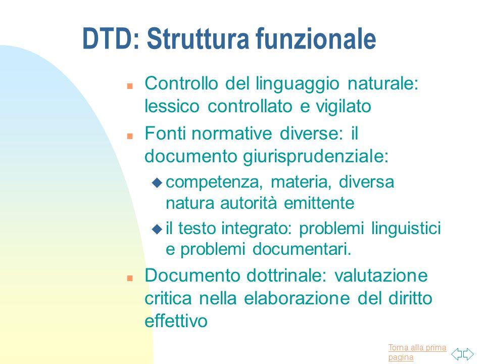 Torna alla prima pagina DTD: Struttura funzionale n Controllo del linguaggio naturale: lessico controllato e vigilato n Fonti normative diverse: il do