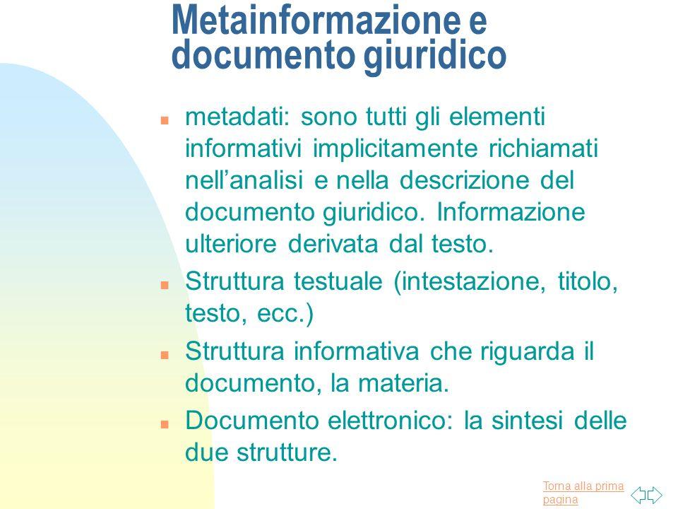 Torna alla prima pagina Metainformazione e documento giuridico n metadati: sono tutti gli elementi informativi implicitamente richiamati nellanalisi e