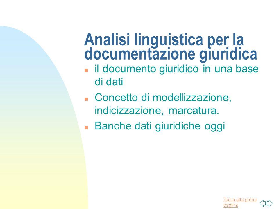 Torna alla prima pagina Analisi linguistica per la documentazione giuridica n il documento giuridico in una base di dati n Concetto di modellizzazione