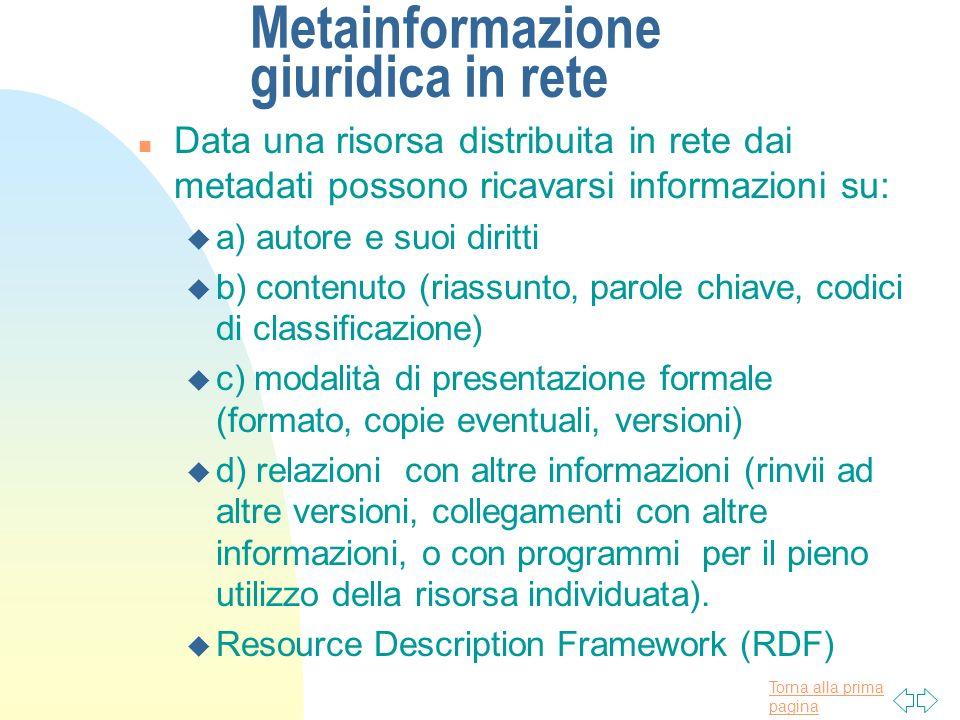 Torna alla prima pagina Metainformazione giuridica in rete n Data una risorsa distribuita in rete dai metadati possono ricavarsi informazioni su: u a)