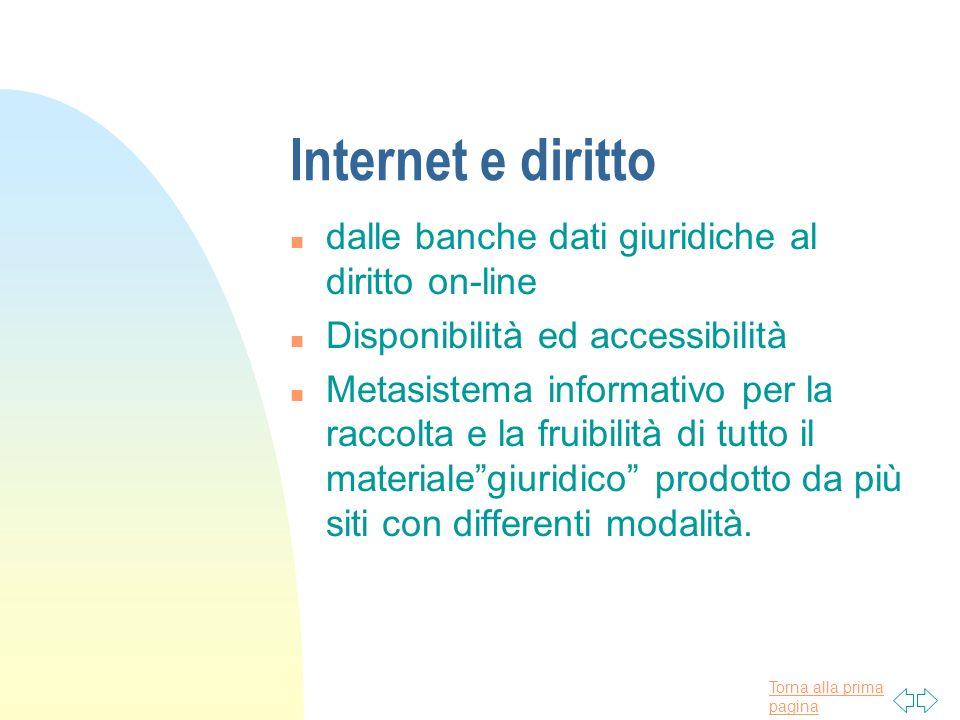 Torna alla prima pagina Internet e diritto n dalle banche dati giuridiche al diritto on-line n Disponibilità ed accessibilità n Metasistema informativ