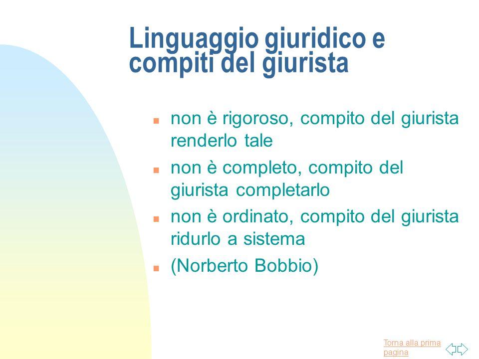 Torna alla prima pagina Analisi linguistica n Art.