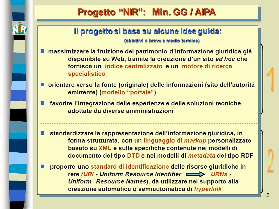 2 Il progetto si basa su alcune idee guida: (obiettivi a breve e medio termine) massimizzare la fruizione del patrimonio dinformazione giuridica già d
