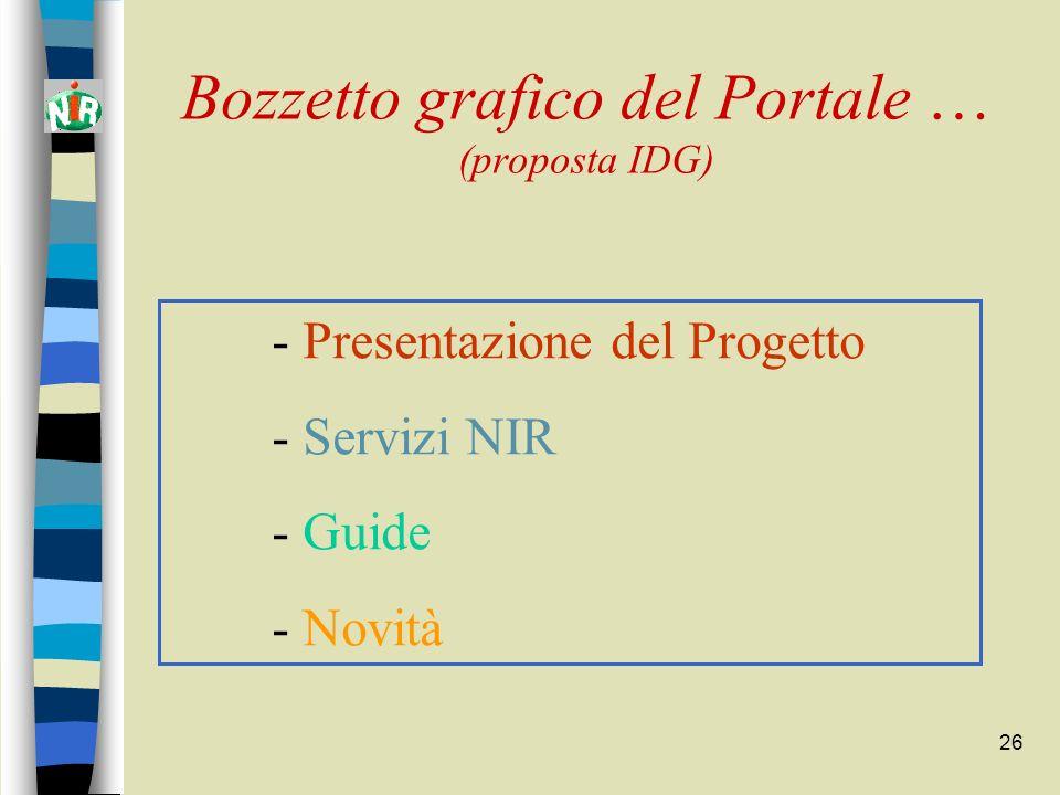 26 Bozzetto grafico del Portale … (proposta IDG) - Presentazione del Progetto - Servizi NIR - Guide - Novità