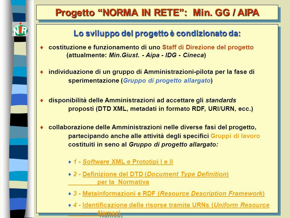 3 Lo sviluppo del progetto è condizionato da: costituzione e funzionamento di uno Staff di Direzione del progetto (attualmente: Min.Giust. - Aipa - ID