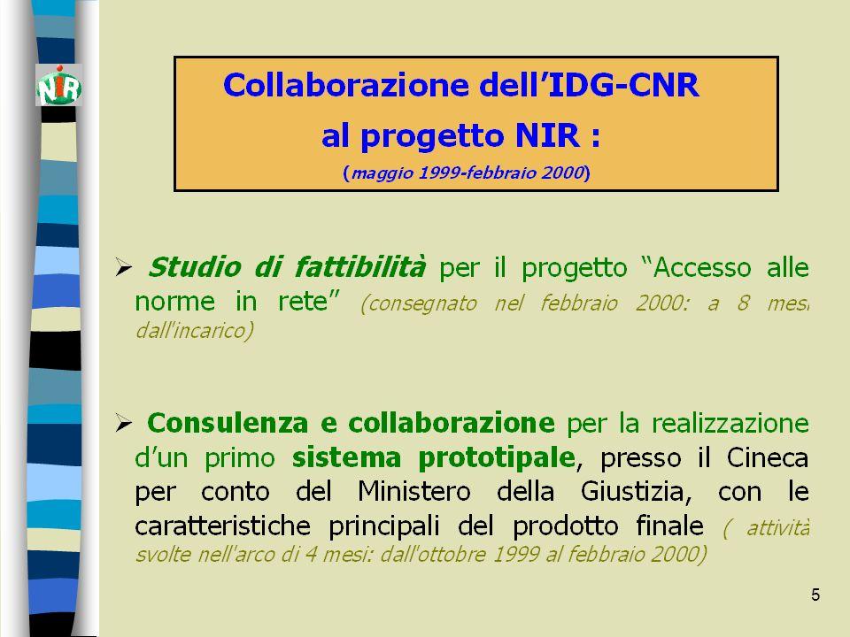 6 Studio di fattibilità per la realizzazione del progetto Accesso alle norme in rete IDG-CNR Firenze, 31 gennaio 2000 8 capitoli - 200 pp.
