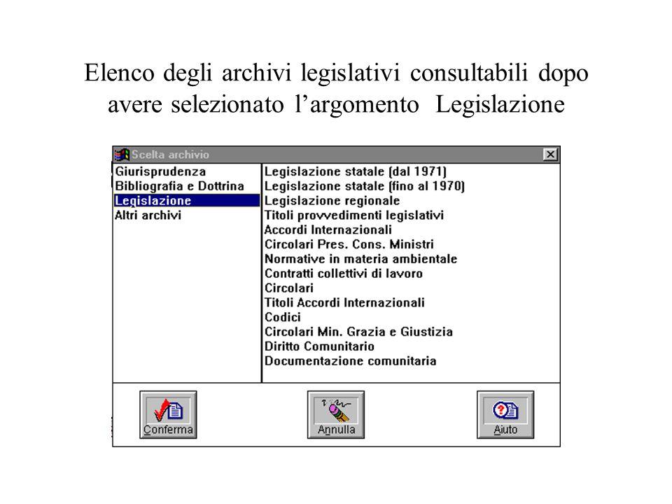 Elenco degli archivi legislativi consultabili dopo avere selezionato largomento Legislazione