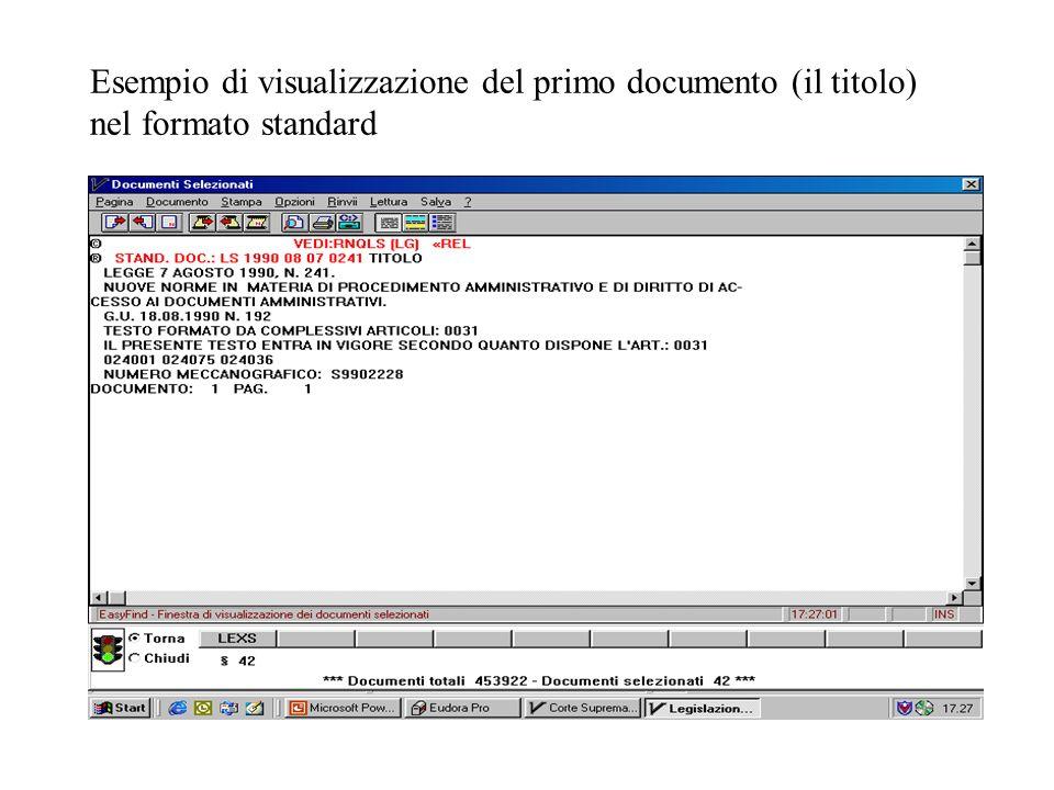Esempio di visualizzazione del primo documento (il titolo) nel formato standard