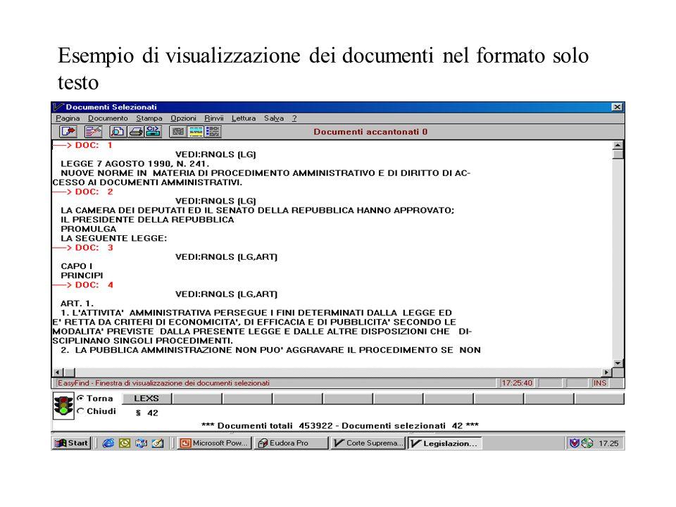 Esempio di visualizzazione dei documenti nel formato solo testo