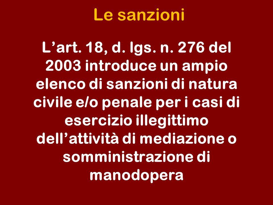 Le sanzioni Lart.18, d. lgs. n.