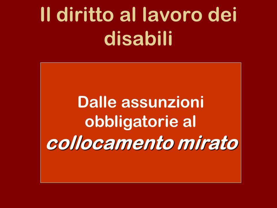 Il diritto al lavoro dei disabili Dalle assunzioni obbligatorie al collocamento mirato