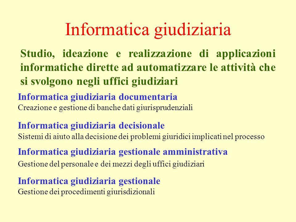 Informatica giudiziaria Informatica giudiziaria documentaria Creazione e gestione di banche dati giurisprudenziali Informatica giudiziaria decisionale