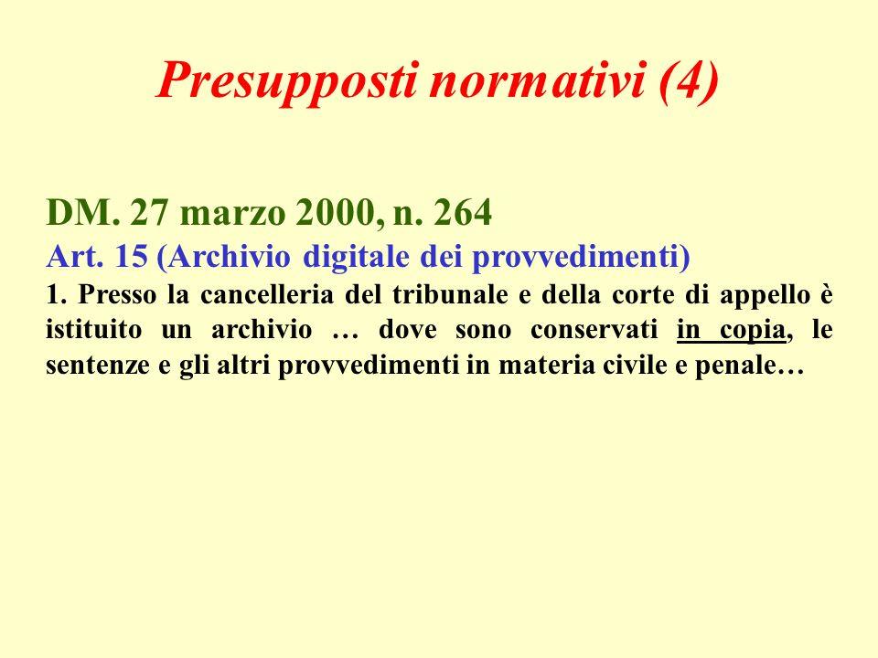 DM. 27 marzo 2000, n. 264 Art. 15 (Archivio digitale dei provvedimenti) 1. Presso la cancelleria del tribunale e della corte di appello è istituito un