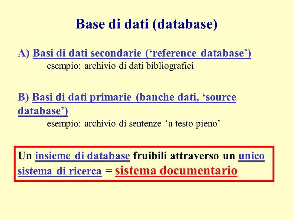 Base di dati (database) A) Basi di dati secondarie (reference database) esempio: archivio di dati bibliografici B) Basi di dati primarie (banche dati, source database) esempio: archivio di sentenze a testo pieno Un insieme di database fruibili attraverso un unico sistema di ricerca = sistema documentario