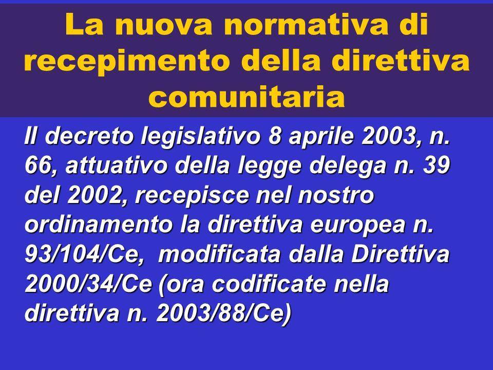 La nuova normativa di recepimento della direttiva comunitaria Il decreto legislativo 8 aprile 2003, n. 66, attuativo della legge delega n. 39 del 2002