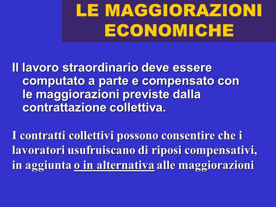 LE MAGGIORAZIONI ECONOMICHE Il lavoro straordinario deve essere computato a parte e compensato con le maggiorazioni previste dalla contrattazione coll