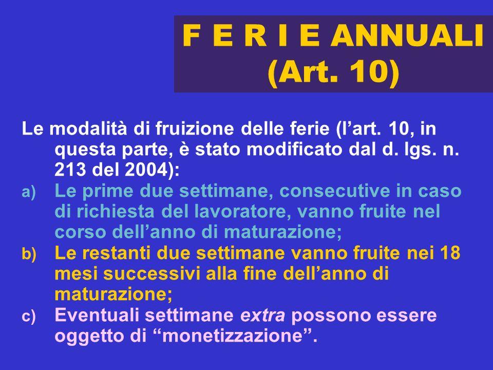 F E R I E ANNUALI (Art. 10) Le modalità di fruizione delle ferie (lart. 10, in questa parte, è stato modificato dal d. lgs. n. 213 del 2004): a) Le pr