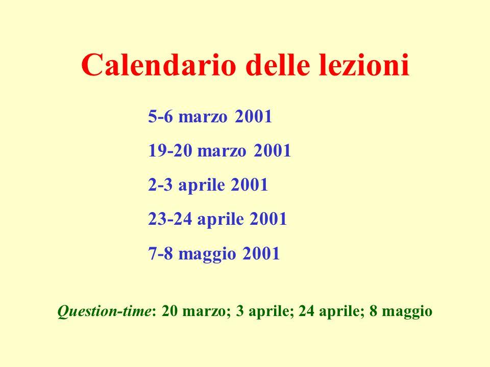 Calendario delle lezioni 5-6 marzo 2001 19-20 marzo 2001 2-3 aprile 2001 23-24 aprile 2001 7-8 maggio 2001 Question-time: 20 marzo; 3 aprile; 24 aprile; 8 maggio