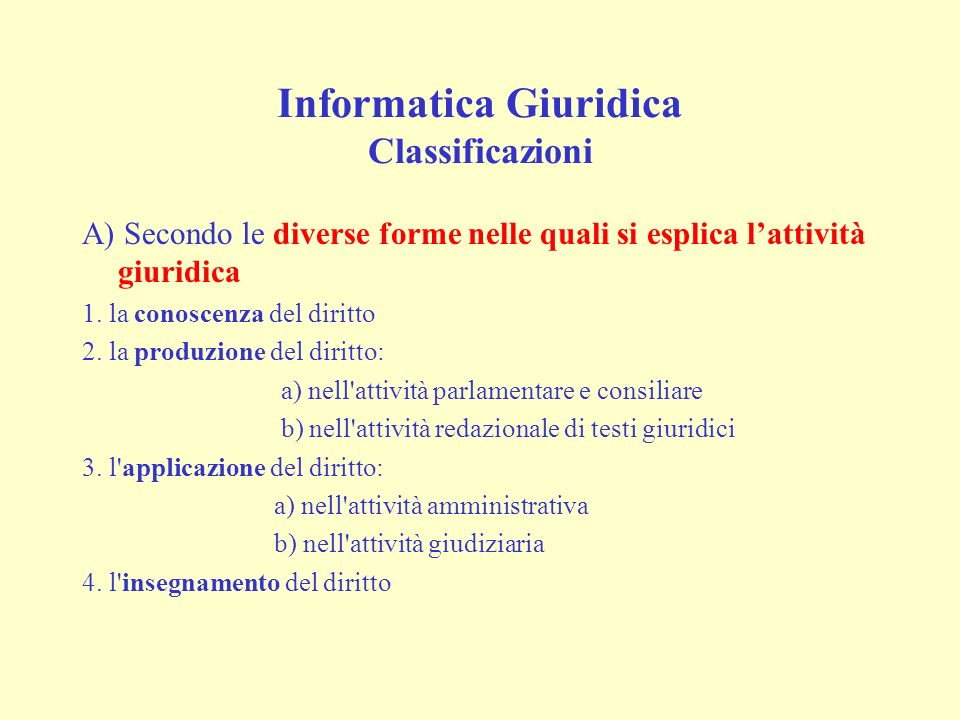 Informatica Giuridica Classificazioni A) Secondo le diverse forme nelle quali si esplica lattività giuridica 1.