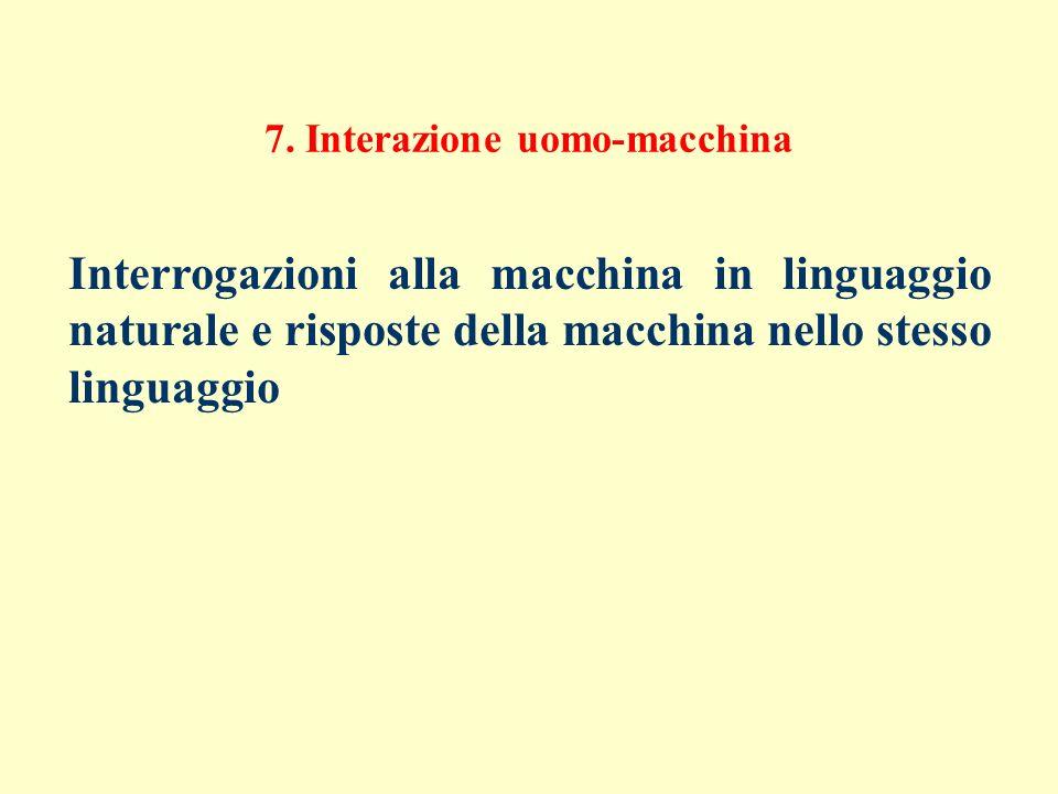 7. Interazione uomo-macchina Interrogazioni alla macchina in linguaggio naturale e risposte della macchina nello stesso linguaggio