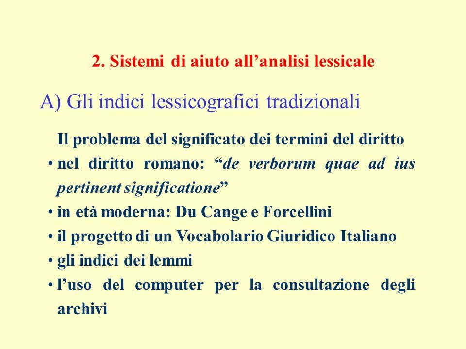 2. Sistemi di aiuto allanalisi lessicale A) Gli indici lessicografici tradizionali Il problema del significato dei termini del diritto nel diritto rom