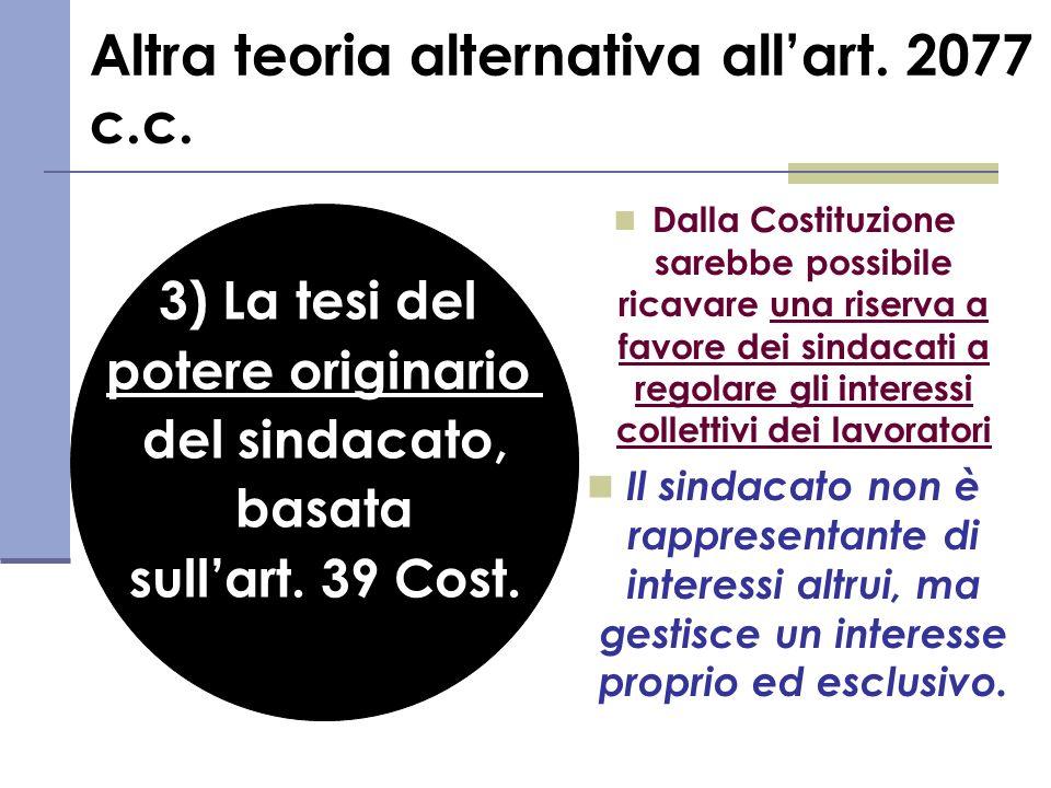Altra teoria alternativa allart. 2077 c.c. Dalla Costituzione sarebbe possibile ricavare una riserva a favore dei sindacati a regolare gli interessi c