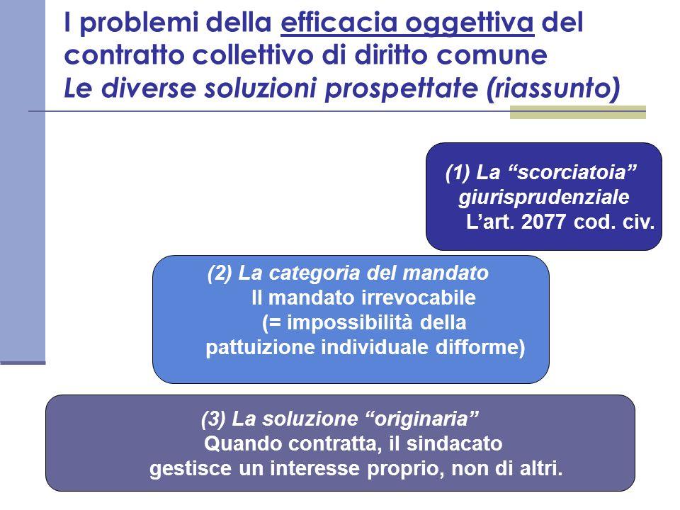 I problemi della efficacia oggettiva del contratto collettivo di diritto comune Le diverse soluzioni prospettate (riassunto) (1) La scorciatoia giuris