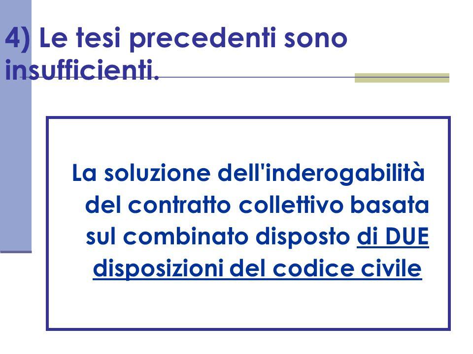 4) Le tesi precedenti sono insufficienti. La soluzione dell'inderogabilità del contratto collettivo basata sul combinato disposto di DUE disposizioni
