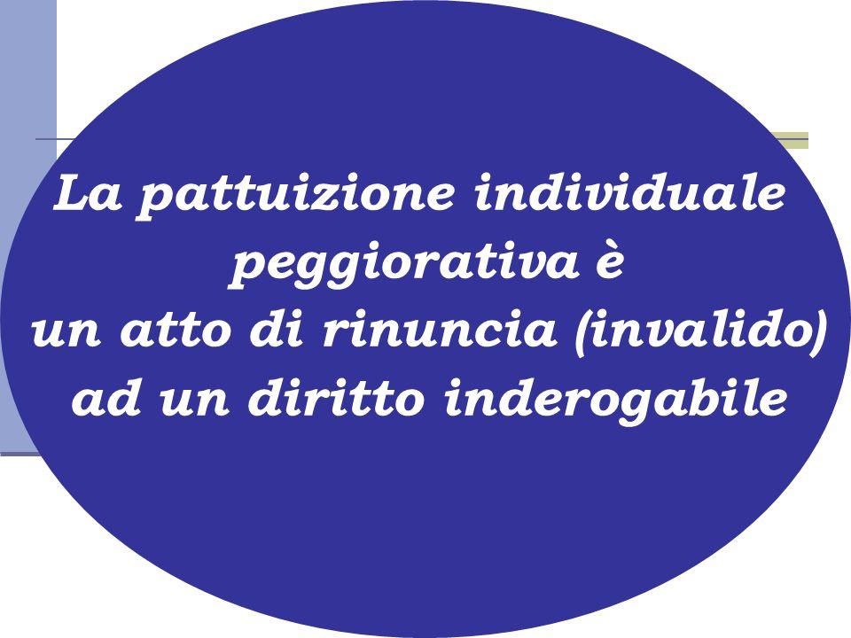 La pattuizione individuale peggiorativa è un atto di rinuncia (invalido) ad un diritto inderogabile