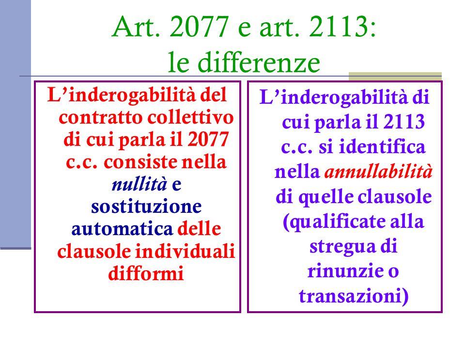 Art. 2077 e art. 2113: le differenze Linderogabilità del contratto collettivo di cui parla il 2077 c.c. consiste nella nullità e sostituzione automati