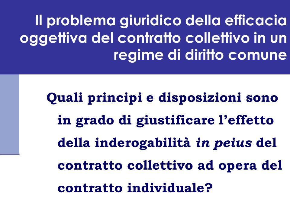 (segue) il problema giuridico della efficacia oggettiva del contratto collettivo in un regime di diritto comune - la soluzione più blanda: la tecnica della inderogabilità o della efficacia obbligatoria, basata su un sistema di responsabilità contrattuale.
