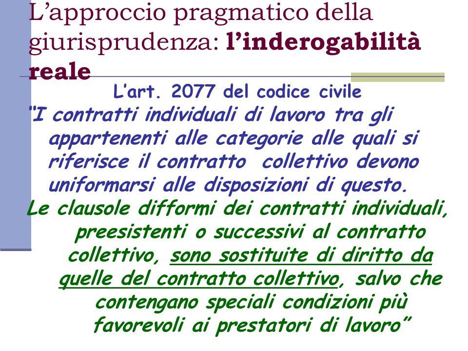 Lapproccio pragmatico della giurisprudenza: linderogabilità reale Lart. 2077 del codice civile I contratti individuali di lavoro tra gli appartenenti