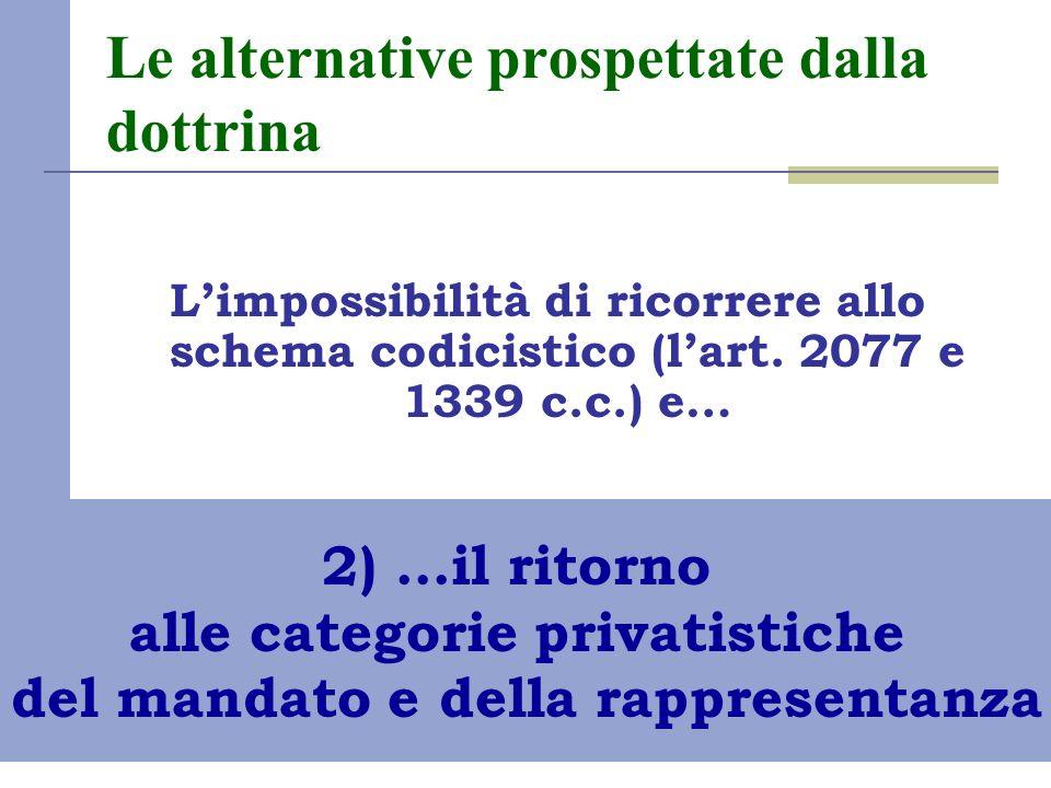 Le alternative prospettate dalla dottrina Limpossibilità di ricorrere allo schema codicistico (lart. 2077 e 1339 c.c.) e… 2) …il ritorno alle categori