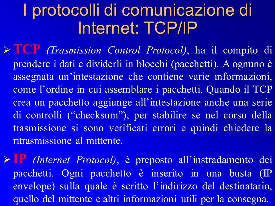 TCP (Trasmission Control Protocol), ha il compito di prendere i dati e dividerli in blocchi (pacchetti). A ognuno è assegnata unintestazione che conti