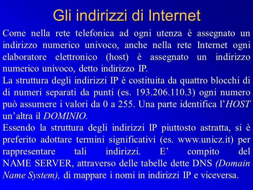Gli indirizzi di Internet Come nella rete telefonica ad ogni utenza è assegnato un indirizzo numerico univoco, anche nella rete Internet ogni elaborat