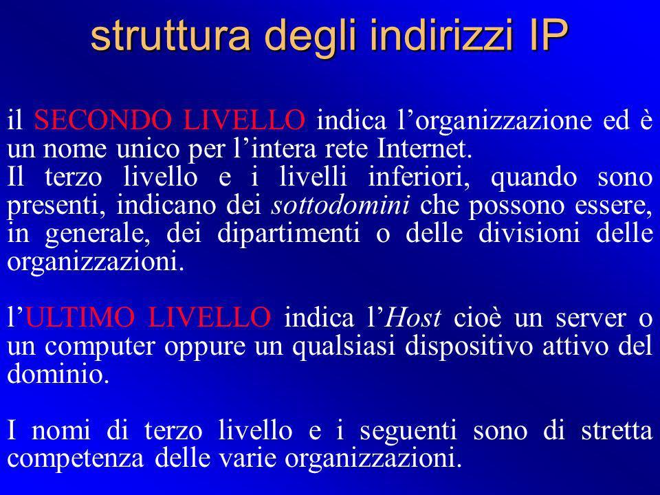 struttura degli indirizzi IP il SECONDO LIVELLO indica lorganizzazione ed è un nome unico per lintera rete Internet. Il terzo livello e i livelli infe