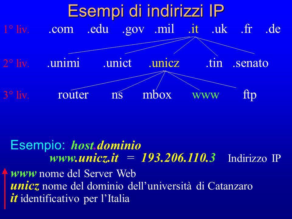 Esempi di indirizzi IP 1° liv..com.edu.gov.mil.it.uk.fr.de 2° liv..unimi.unict.unicz.tin.senato 3° liv. router ns mbox www ftp Esempio: host.dominio w