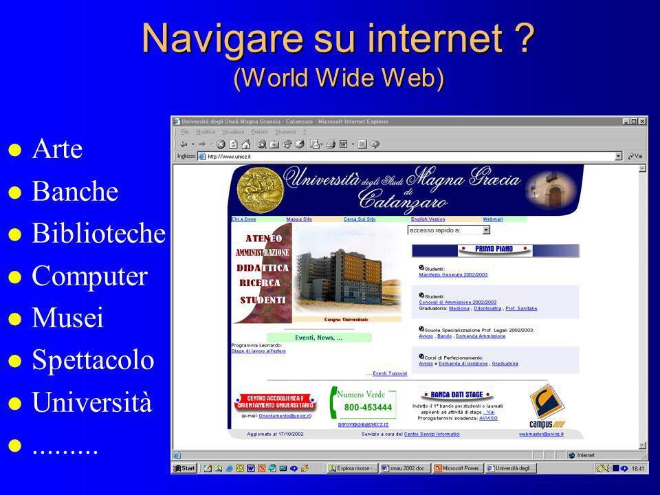 Navigare su internet ? (World Wide Web) l Arte l Banche l Biblioteche l Computer l Musei l Spettacolo l Università l.........