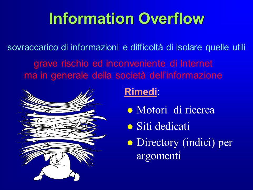 Information Overflow sovraccarico di informazioni e difficoltà di isolare quelle utili grave rischio ed inconveniente di Internet ma in generale della