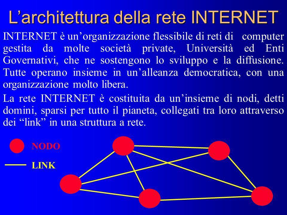 Larchitettura della rete INTERNET INTERNET è unorganizzazione flessibile di reti di computer gestita da molte società private, Università ed Enti Gove