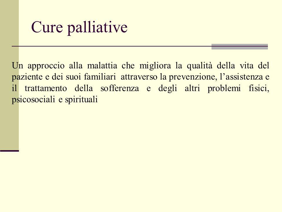 Cure palliative Un approccio alla malattia che migliora la qualità della vita del paziente e dei suoi familiari attraverso la prevenzione, lassistenza