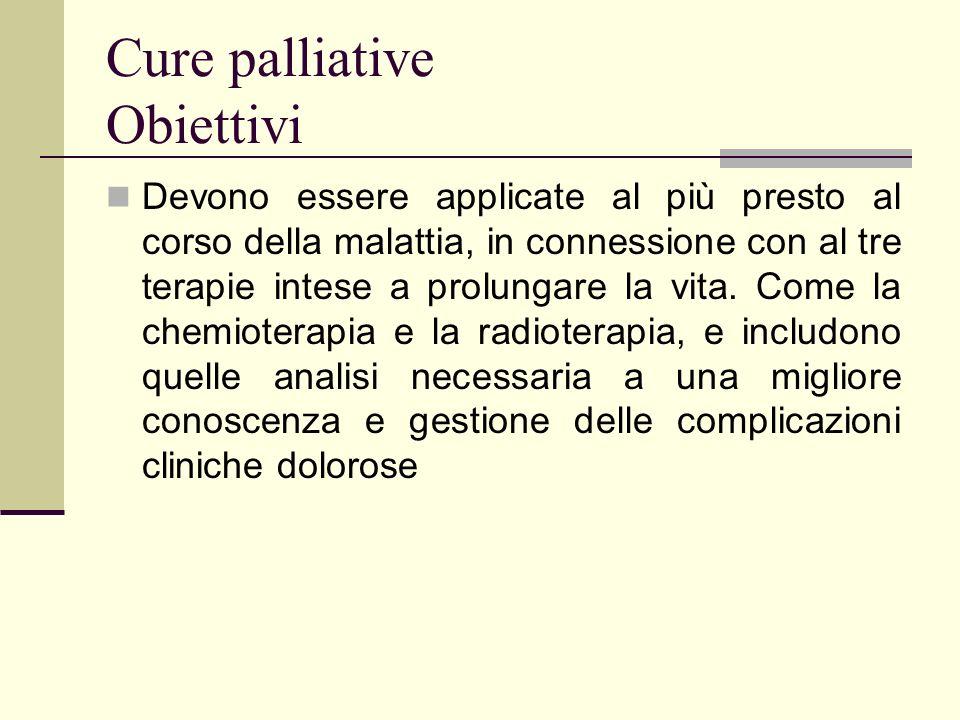 Cure palliative Obiettivi Devono essere applicate al più presto al corso della malattia, in connessione con al tre terapie intese a prolungare la vita