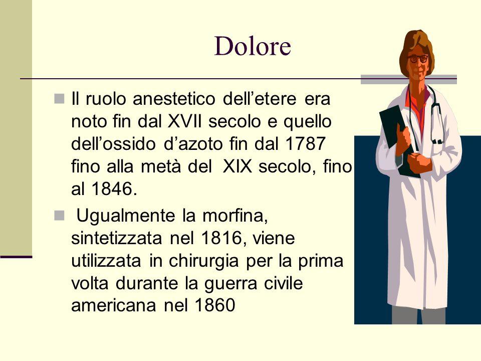 Dolore Il ruolo anestetico delletere era noto fin dal XVII secolo e quello dellossido dazoto fin dal 1787 fino alla metà del XIX secolo, fino al 1846.
