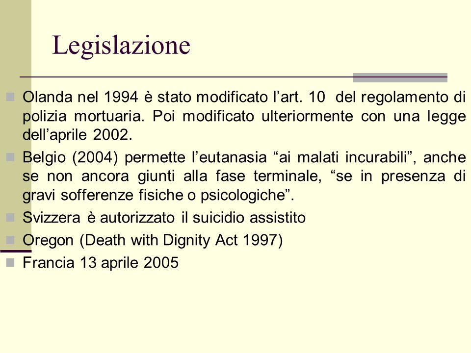 Legislazione Olanda nel 1994 è stato modificato lart. 10 del regolamento di polizia mortuaria. Poi modificato ulteriormente con una legge dellaprile 2